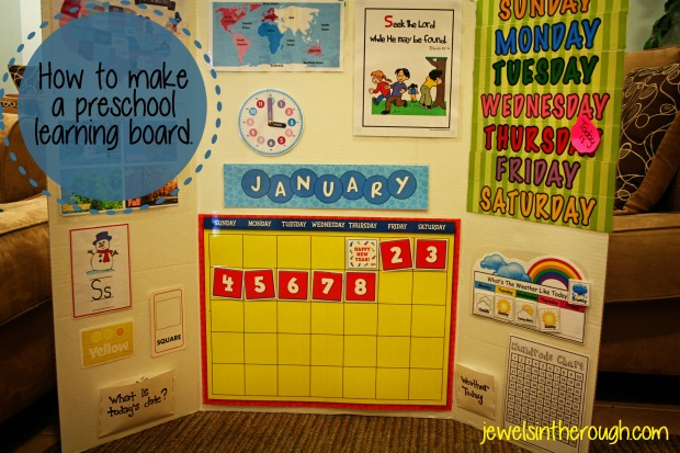 How to make a preschool learning board. jewelsintheroughblog.com
